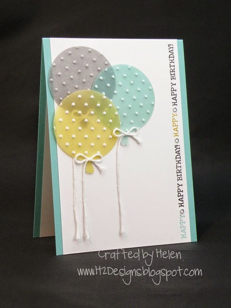 Stampin' Up! ... handmade birthday card from H2 Designs ..l ... clean and simple layout ... three large circle balloons made from brayered vellum ... dots embossing folder texture ... white string bow with string hangind down ... luv how the translucence of the vellum makes changes in overlapping colors and lets you see the whole shape of the bottom balloon ... luv it!