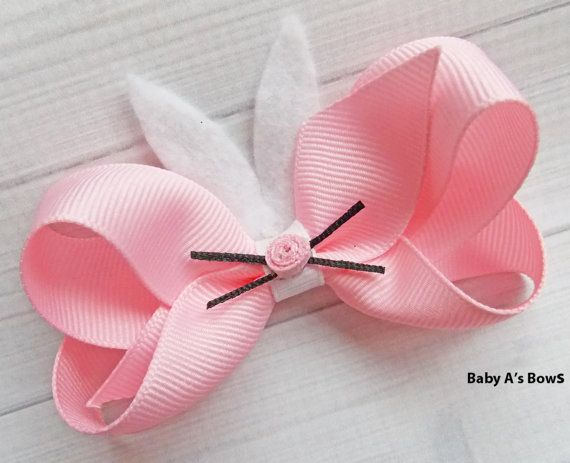 Easter Bows Bunny Bow Pink Easter Bow Bunny Ears Felt by BabyABows
