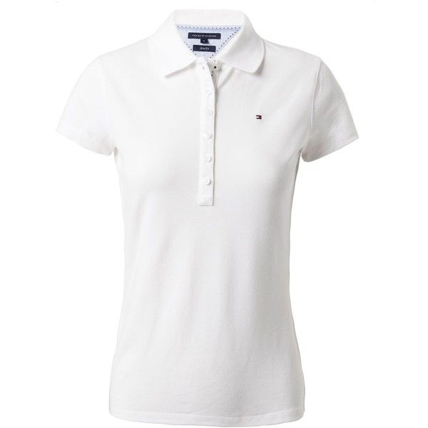 Tommy Hilfiger Chiara plain polo short sleeved (€64) ❤ liked on Polyvore featuring tops, blusas, shirts, white, women, polo shirts, polo collar shirts, tommy hilfiger shirts, short sleeve collared shirt and short sleeve tops
