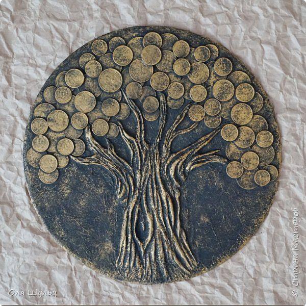 Картина панно рисунок День рождения Аппликация Аппликация из скрученных жгутиков Лепка денежные деревья Материал природный Монета Тесто соленое фото 9