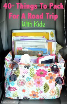 Planning a road trip? Here are 40 Things To Pack For a Road Trip With Kids to keep them entertained and happy including tips, free printables and easy ideas.