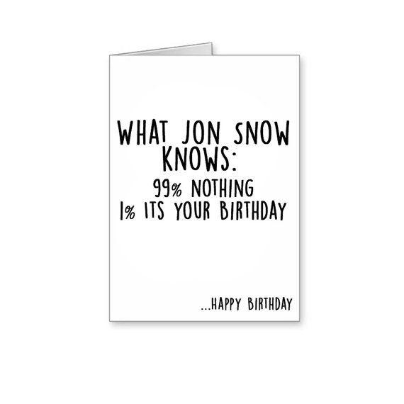 Was Jon Snow weiß 99 % nichts 1 seine Ihre von BanterCards auf Etsy