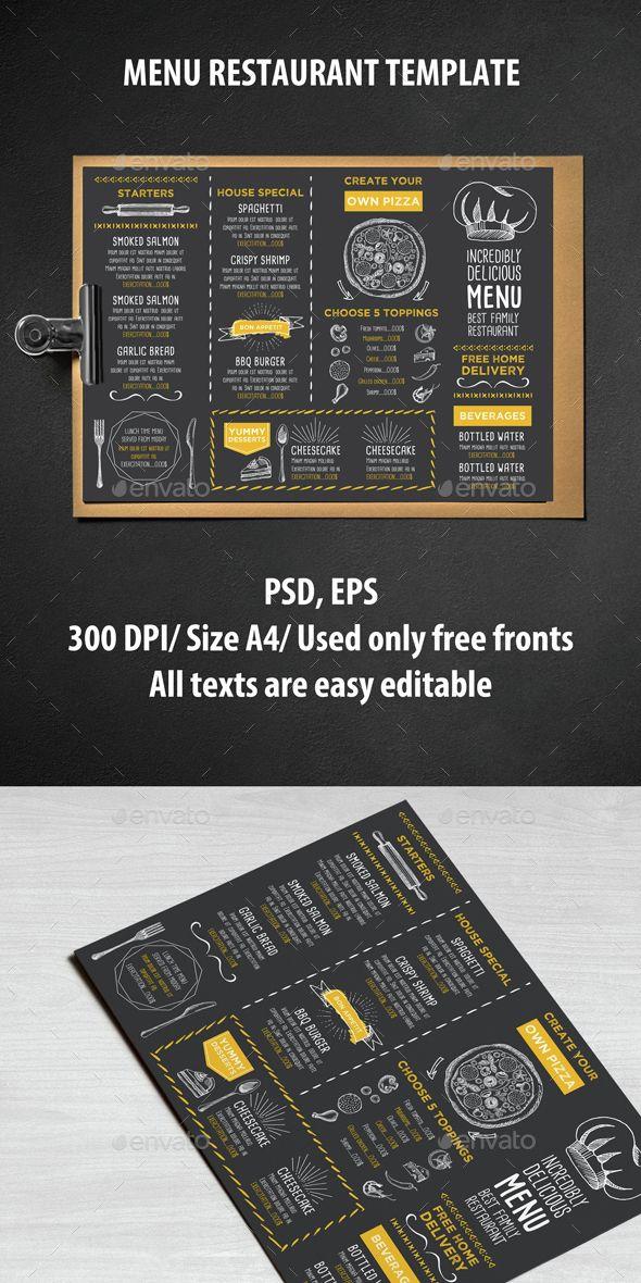 A4 Menu Restaurant Template PSD, Vector EPS #design Download: http://graphicriver.net/item/menu-restaurant-template/14521839?ref=ksioks