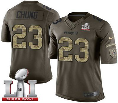 ef98e4446a2 Shop ByNfl Nike Patriots 23 Patrick Chung Green Super Bowl LI 51 Mens  Stitched NFL Limited Salute ...