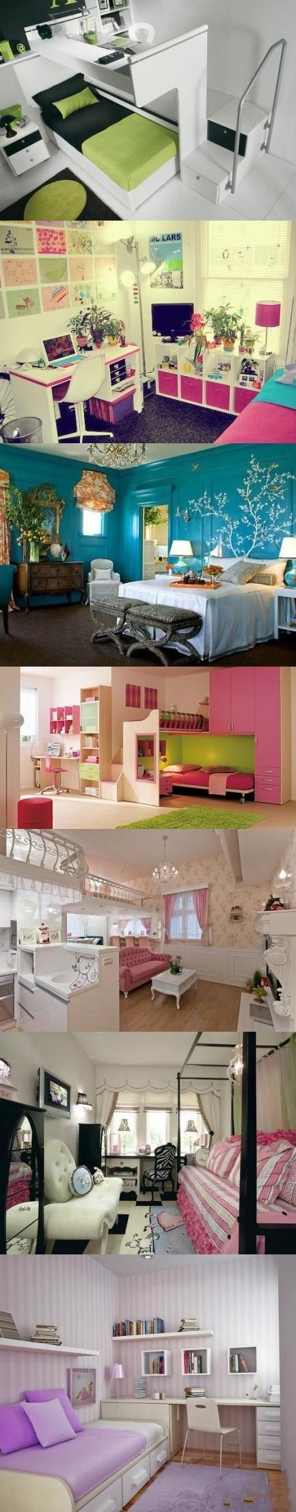 Cool Bedrooms...LOVE the first one, switch on bunk bed on top & desk underneath - I like it!