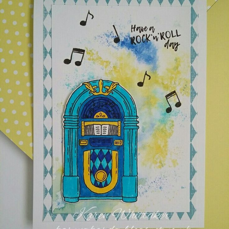 For The Love of Stamps Rock n Roll Jukebox.  #fortheloveofstamps #hunkydorycrafts #rocknroll #jukebox #music #stamping #stamps #kuretakezig #watercolor #cards #cardmaking #handmade
