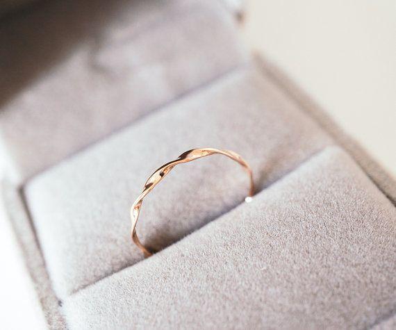 Mobius ring 14k 18k rose gold twist band möbius stacking ring, rose gold, white gold, stackable band ring, wedding band