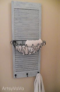 Refurbish a shutter for storage. I would but this in a bathroom to use for soaps and things like that.