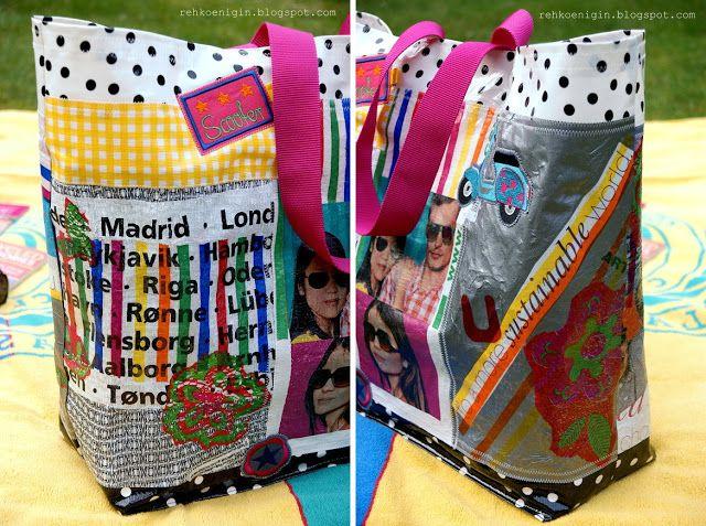 Anleitung: Mehrere Plastiktüten zusammenbügeln um daraus eine neue Tasche zu nähen