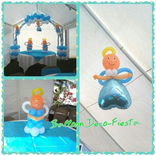 Bautizo con angeles balloon archs arco con globos for Balloon decoration los angeles