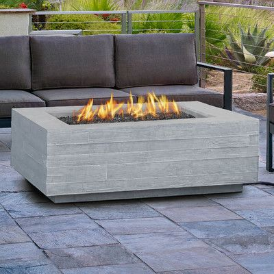 Features:  -Burns liquid propane, rated at up to 65,000 BTUs of heat.  -Cast from tinted fiber-concrete and heavy gauge steel.  Product Type: -Fire pit table.  Finish: -Faux Wood.  Base Material: -Con