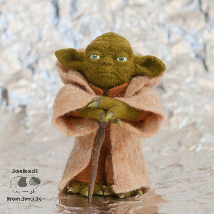 YODA felted Star Wars - natural wool toy - yoda toy - yoda figurine - star wars toys - geek - nerdy by JackadiHandmade on Etsy
