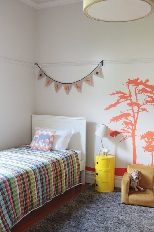 Project by: Belinda Nihill of Nest Design Studio Location: Australia I really do have the best job! I worked with James' parents to create a safari-themed room and we used a bold safari decal which James' mum found and wanted to include. The orange really makes an impact when you walk into the room!
