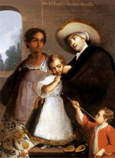1700s Families - Caste Paintings - Racial Mix Determined Status, Privileges, & Obligations 1763 Caste Painting Series by Miguel Cabrera (c 1695-1768) De Español y Mulata; Morisca