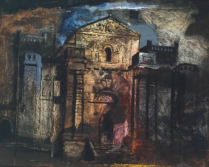 John Piper, 'Seaton Delaval' 1941. Piper described the castle's colouring as 'ochre and flame licked red, pock-marked and stained... incredibly up-to-date: very much of our times'. I love Piper and his architectural paintings from the war period seem like both a lament for a lost time and an anticipation of the ruin of these great buildings...