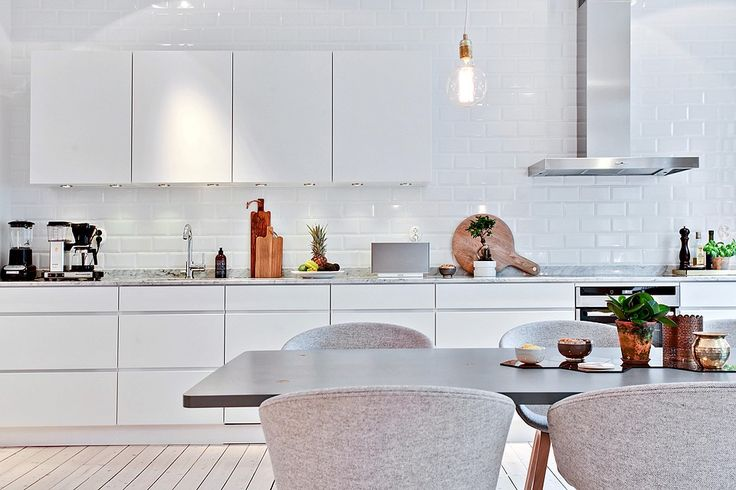 Clean kitchen cabinetry lines, white