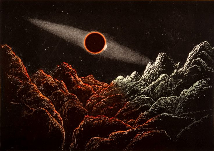 Aspect of an Eclipse of the Sun by the Earth, as it would Appear as Seen from the Moon, by James Nasmyth, 1885, book Illustration, genre: Astronomy, Art