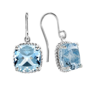 Birks Collection, Large Blue Topaz Drop Earrings, in Sterling Silver
