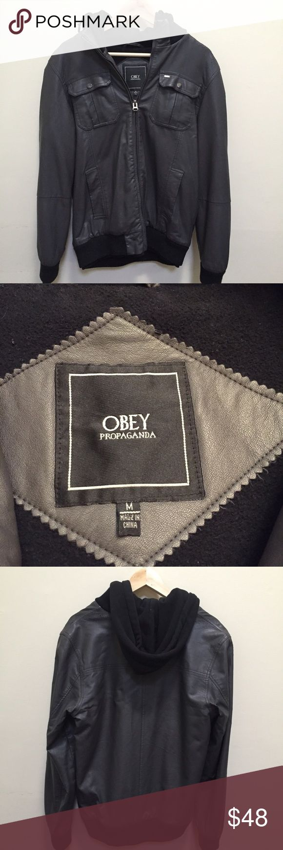 Obey Propaganda Faux Hoodie Leather Jacket for Men Obey Propaganda Faux Hoodie Leather Jacket! Hipster Jacket purchased from Urban Outfitters! The black cotton hoodie is connected to dark gray vegan faux leather jacket and cannot be worn separately! Perfect jacket for fall and colder days! Buy it for your Guy💕💕💕💕💕Men size Medium Obey Jackets & Coats Bomber & Varsity