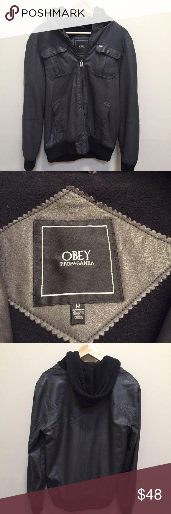 Mens jacket lazada - Obey Propaganda Faux Hoodie Leather Jacket Obey Propaganda Faux Hoodie Leather Jacket Hipster Jacket Purchased