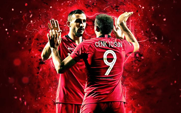 Download Wallpapers Mehmet Topal, Cenk Tosun, Goal, Neon