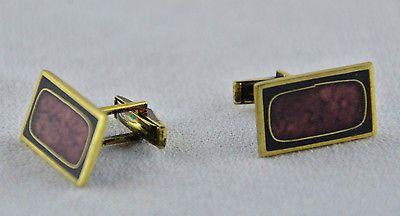 Rare Perli Modernist Gold & Black Enamel Cuff links Made in Germany
