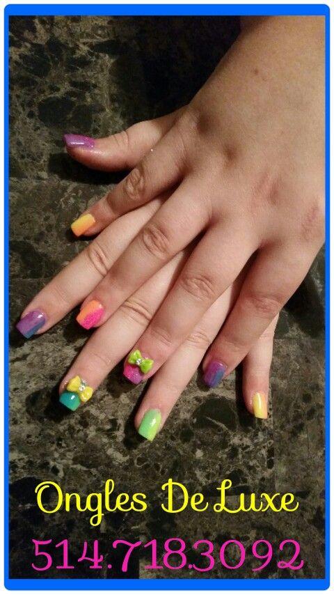 Colourful rainbow flashy nails