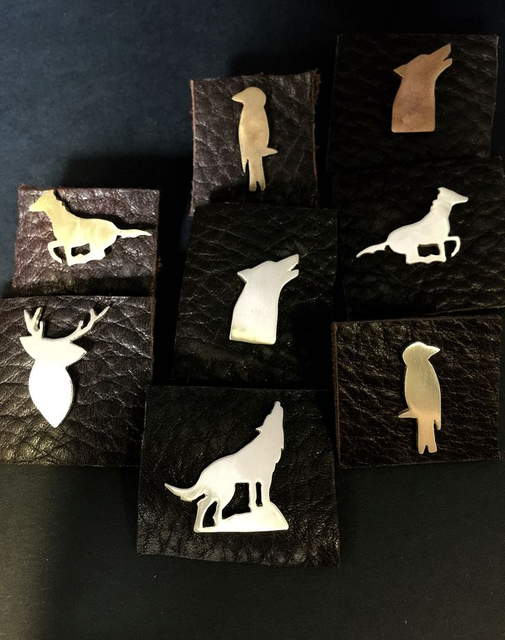 Animal lapel pins - Sterling silver and bronze