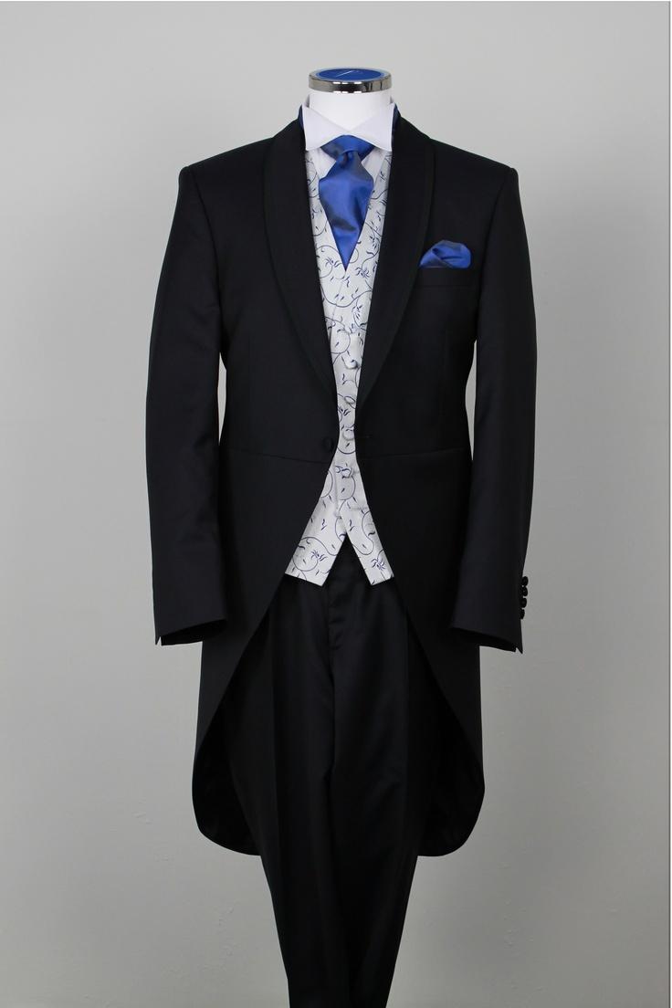 Navy Morning Suit - Shawl Collar Designer Suit Hire