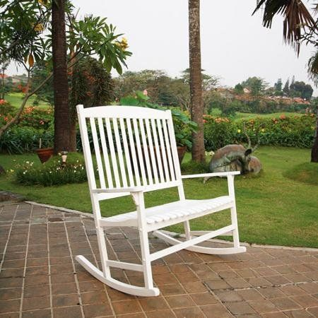 The Mainstays Outdoor Double Rocking Chair gives you a comfortable place to relax on your porch or patio and enjoy the outdoors. Constructed of solid hardwood, this White Outdoor Rocking Chair is wide enough to comfortably seat two people. This White Wood Rocking Chair is weather treated to help it hold up in outdoor elements such as rain and snow. The backrest slats of the Mainstays Outdoor Double Rocking Chair provide support, and you can add a cushion if desired for extra comfort. The…