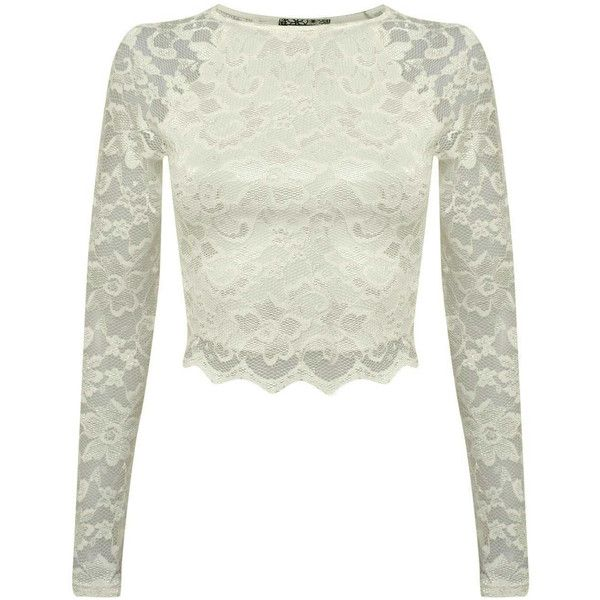 Pilot Naja Long Sleeve Scallop Edge Lace Crop Top (725 DOP) ❤ liked on Polyvore featuring tops, cream, long crop tops, cream crop top, white top, cream top and crop top