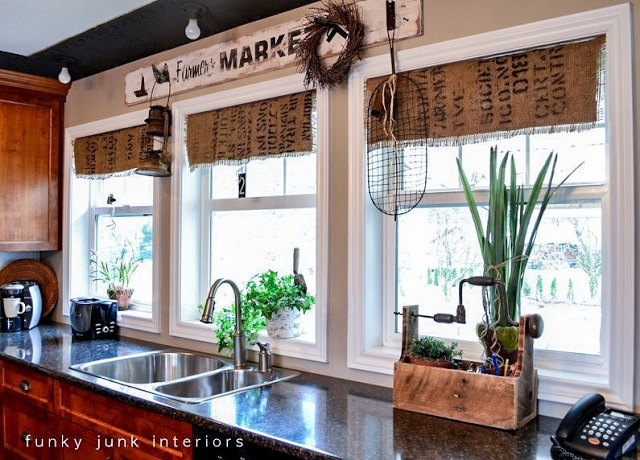 Burlap coffee bean sack window shades: hers are decorative, but these could be made functional.
