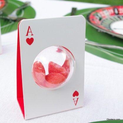 carte poker avec boule plexi pour dragées !