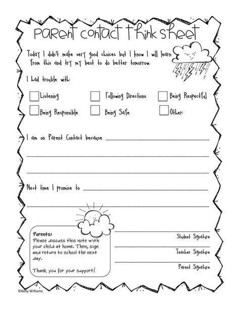 Behavior Management Think Sheet Back to School Pinterest
