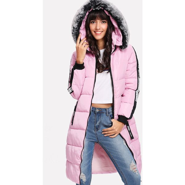 Slogan Tape Faux Fur Hooded Padded Coat ($36) ❤ liked on Polyvore featuring outerwear, coats, faux fur hood coat, pink coat and padded coat