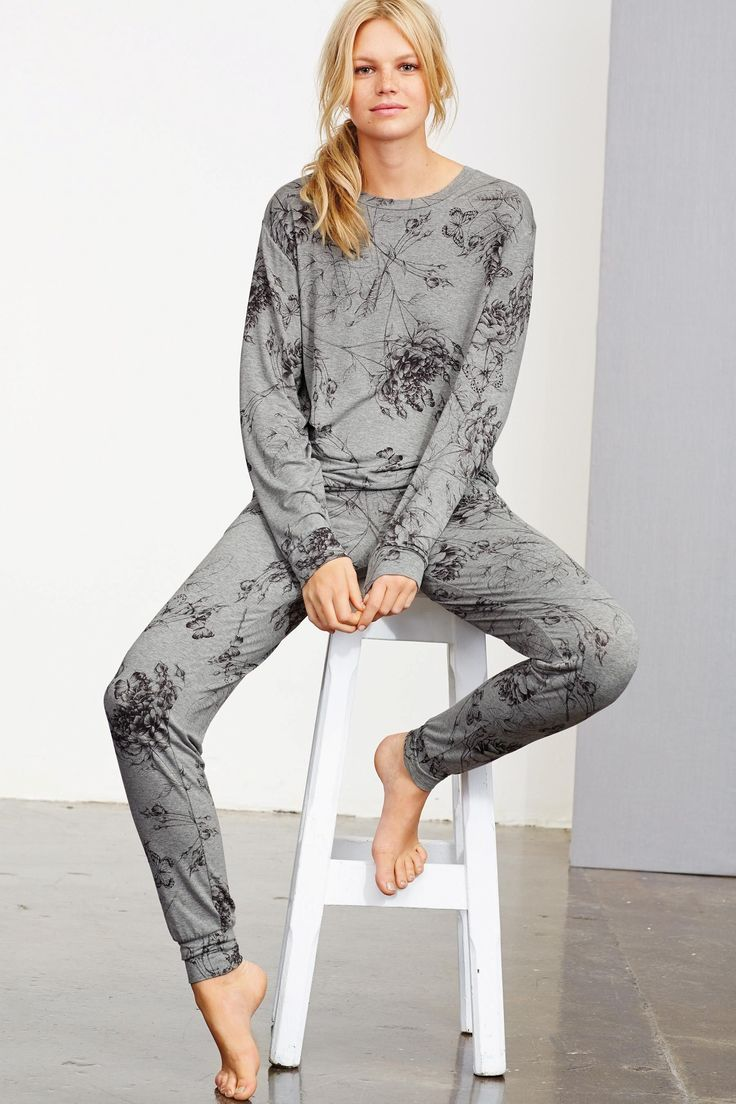 Buy Grey Floral Print Pyjamas from the Next UK online shop
