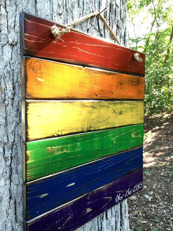 Rustic Rainbow Pride Solid Wood Flag with by TheVintageHammer