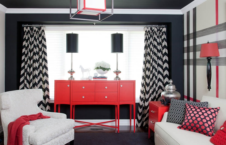 Via @Jenniferbrouwer c/o Jennifer Brouwer Design Inc, Plaid walls, decorative paint finish, black walls, painted ceiling, chevron drapery,painted furniture,canadian designer,