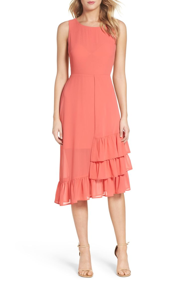 Main Image - Charles Henry Ruffle Midi Dress