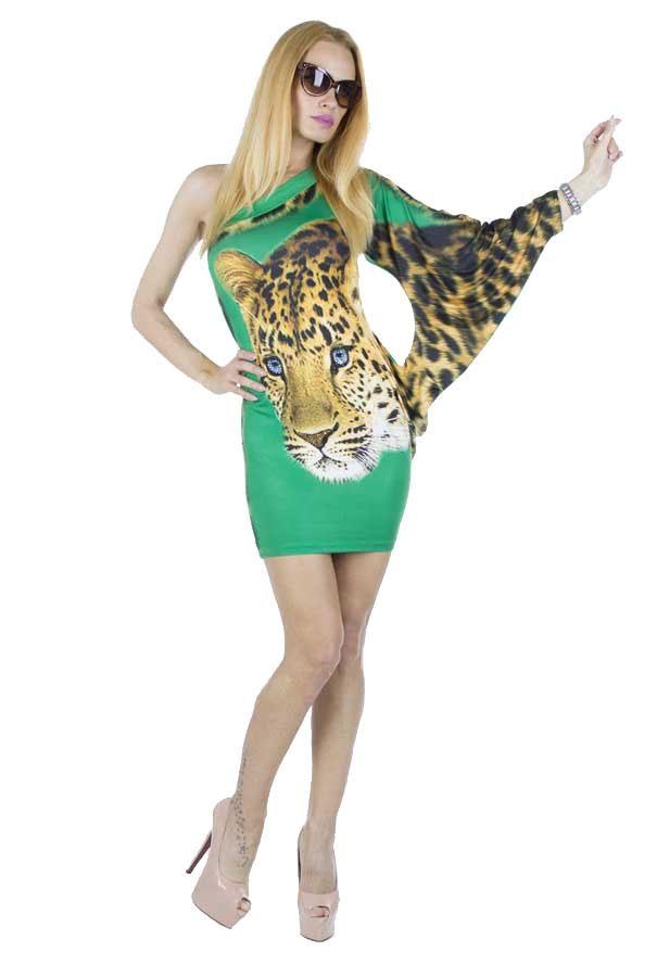 Rochie Dama Beautiful Tiger  Rochie dama ce se muleaza frumos pe silueta. Taietura moderna si indrazneata ce va va scoate din anonimat. Material elastic, ce poate fi purtat de diferite tipuri de silueta. Imprimeu cool.     Compozitie: 100%Poliester  Latime talie: 37cm  Lungime: 80cm