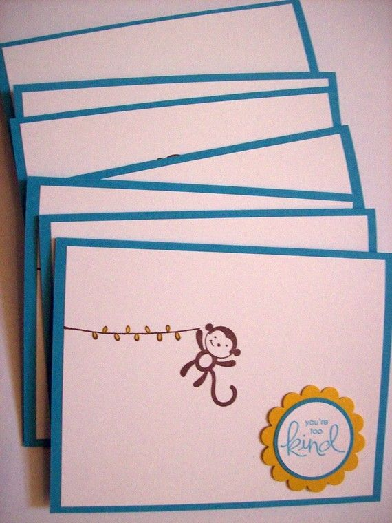 Monkey Thank You Cards  Set of 8 by sillylittlegoose on Etsy, $14.00