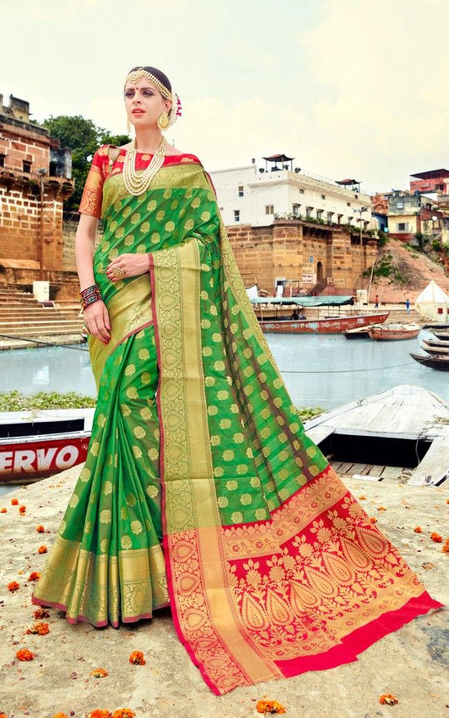878fac912954f4 Buy Green Banarasi Art Silk Designer saree Online