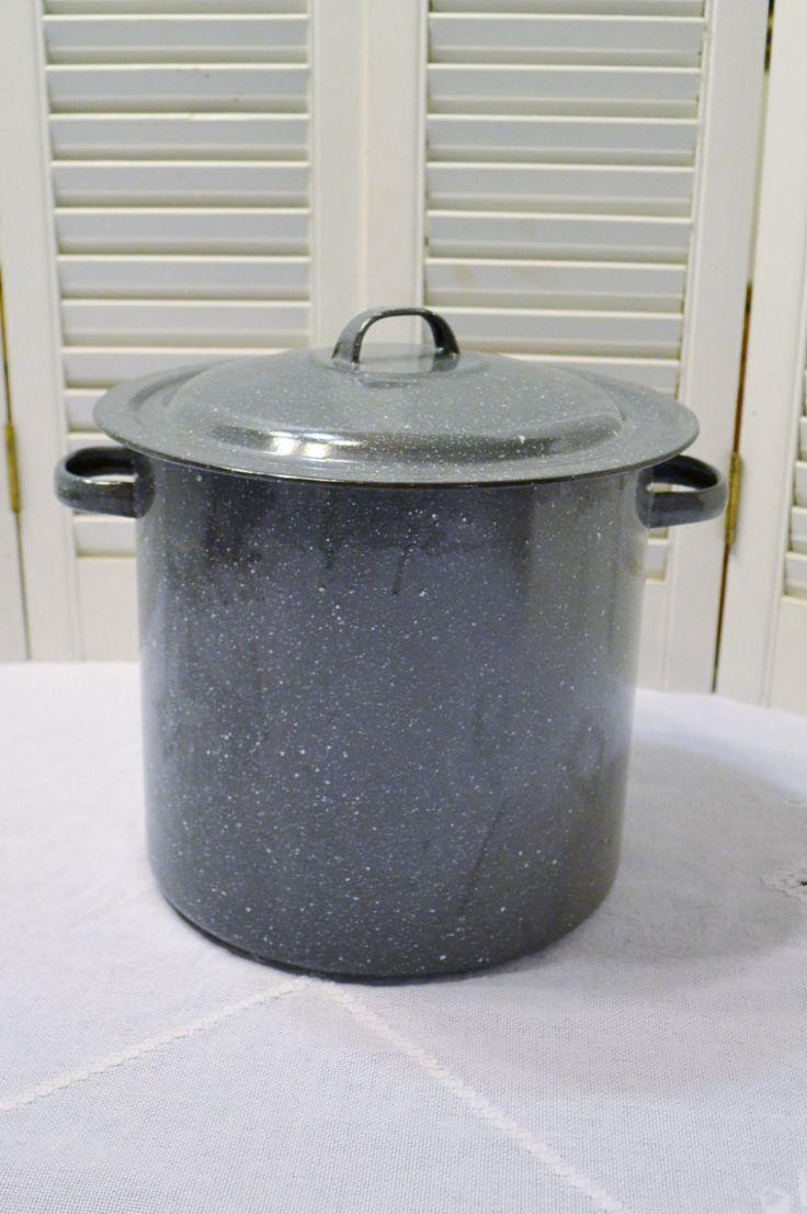 Vintage Gray Enamel Stock Pot with Lid Rustic Cookware Granite Speckle PanchosPorch