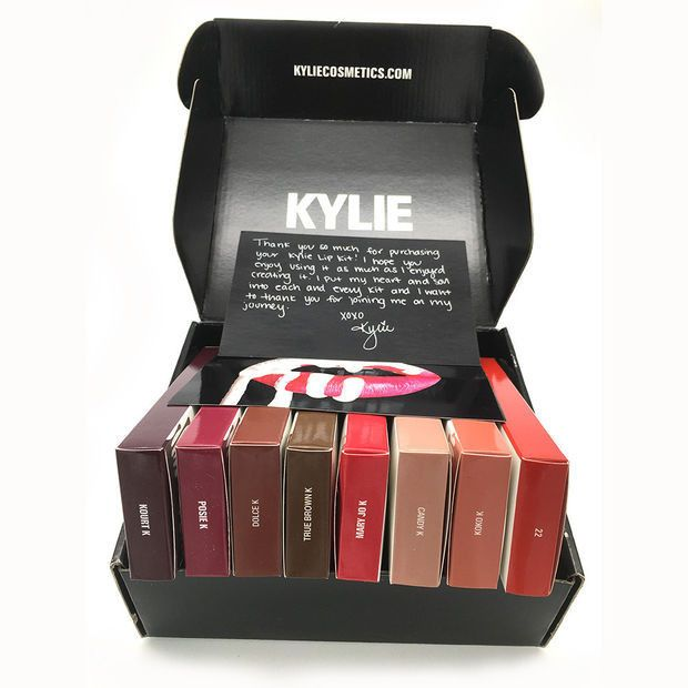 Kylie Lip 6pcs Set Matt Cup Lip Gloss Kylie Jenner Gold & kylie Lip Kit Upgraded Version Lip Gloss + Gift Box
