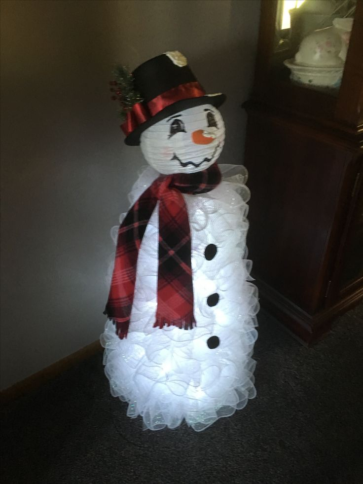 Tomato cage snowman with paper lantern head that I made...