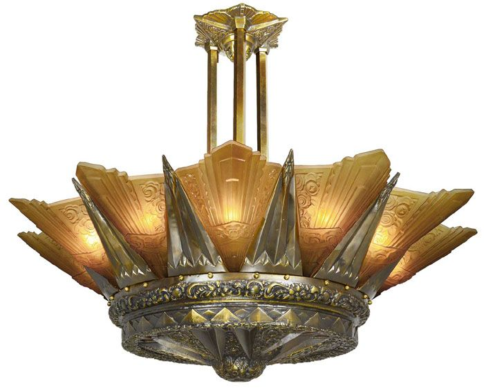 Very Large Art Deco Chandelier 12 Light Slip Shade Ceiling Light has French  Marseille Style and165 best Art Deco Lighting images on Pinterest   Art deco lighting  . Art Deco Lighting Fixtures Chandeliers. Home Design Ideas