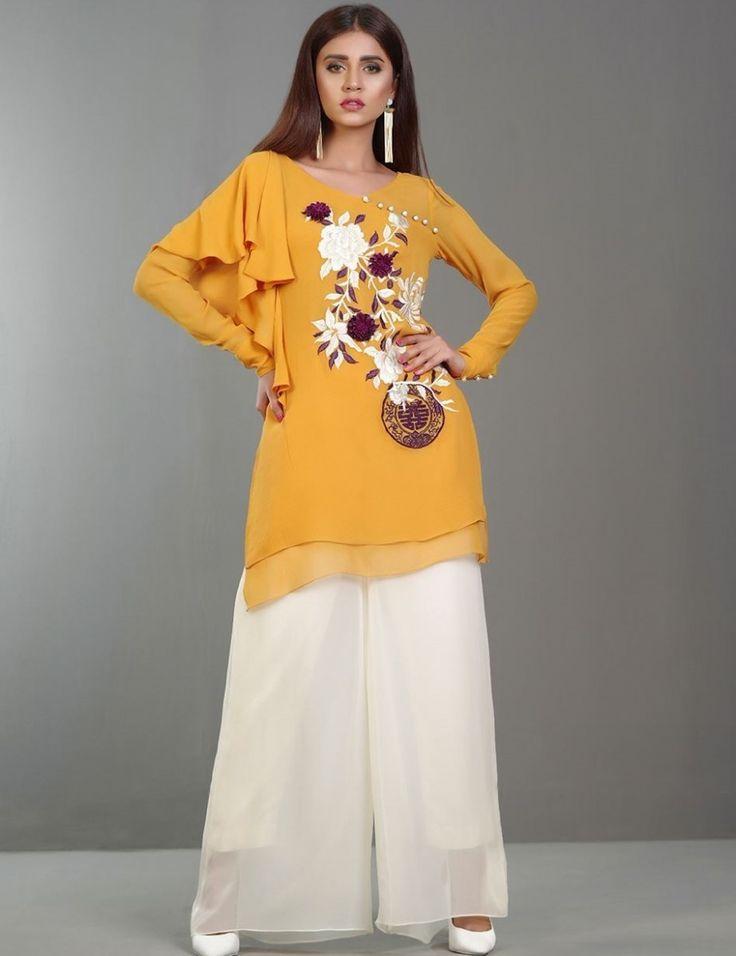 #3D_floral_embroidered saffron chiffon Eid dress by Zainab Chottani