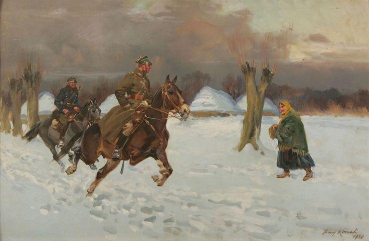 Galloping through the Snowy Village- Jerzy Kossak