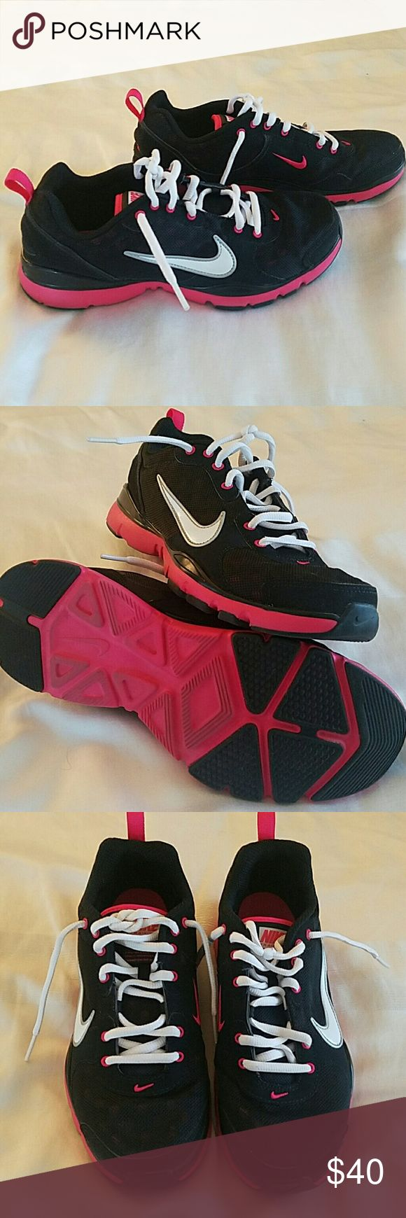 Nike shoes size 7 Black pink and white Nike running shoe. Clean soles, white laces, no damage to lace ends, hardly worn. Nike Shoes Athletic Shoes