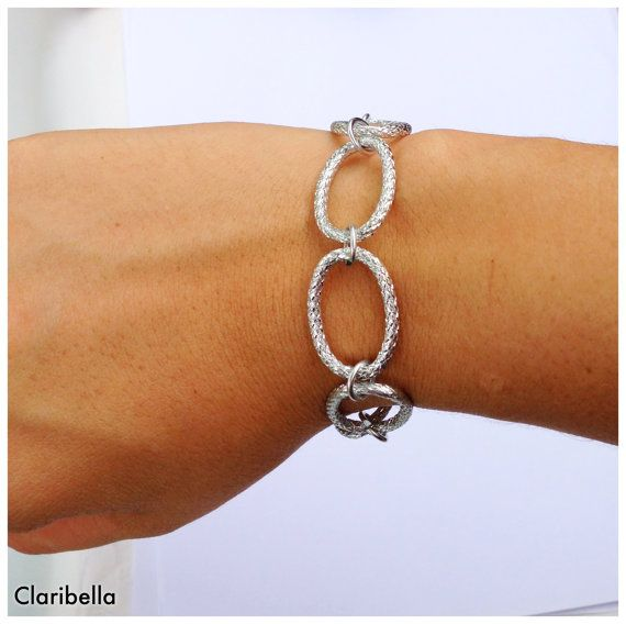 Chunky Silver/Texture Chain Bracelet  Simple by ClaribellasDesigns, $9.00